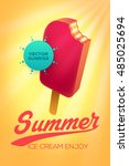 summer vector poster design... | Shutterstock .eps vector #485025694