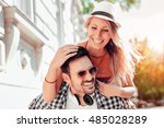 smiling couple in love outdoors.... | Shutterstock . vector #485028289