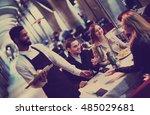 happy american afro waiter... | Shutterstock . vector #485029681