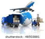 airliner with a globe and... | Shutterstock . vector #48503881