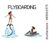 flyboarding. extreme water... | Shutterstock .eps vector #485041975