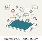 mobile application in use.... | Shutterstock .eps vector #485045839