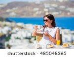 beautiful elegant lady having... | Shutterstock . vector #485048365