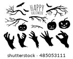 zombie hands silhouettes ... | Shutterstock .eps vector #485053111