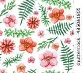 watercolor bright red flowers... | Shutterstock . vector #485061805