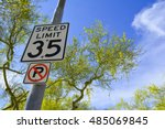 City Street Speed Limit Sign...