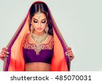 portrait of beautiful indian... | Shutterstock . vector #485070031