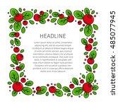 cranberry line art vector... | Shutterstock .eps vector #485077945