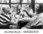 diversity women group hanging... | Shutterstock . vector #485083555