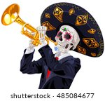 day of the dead trumpet player. ... | Shutterstock .eps vector #485084677