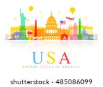 usa travel landmarks. vector... | Shutterstock .eps vector #485086099