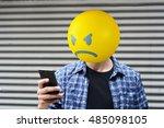 angry emoji head man using a... | Shutterstock . vector #485098105