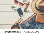 travel clothing accessories... | Shutterstock . vector #485100691