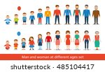 man and woman aging set. people ... | Shutterstock .eps vector #485104417