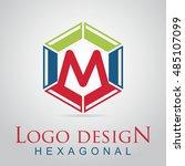 m letter in the hexagonal logo. ...