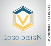 v letter in the hexagonal logo. ...