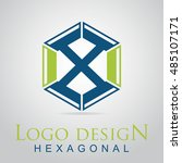 x letter in the hexagonal logo. ...