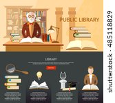 public library infographic... | Shutterstock .eps vector #485118829
