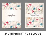 vector floral business cards | Shutterstock .eps vector #485119891