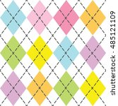 colorful and trendy argyle... | Shutterstock .eps vector #485121109