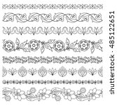 black and white floral borders... | Shutterstock .eps vector #485122651