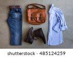 flat lay of men's casual... | Shutterstock . vector #485124259