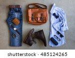 flat lay of men's casual... | Shutterstock . vector #485124265