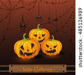 greeting card halloween. brown... | Shutterstock .eps vector #485126989