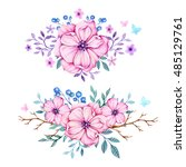 hand drawn in watercolor floral ... | Shutterstock . vector #485129761