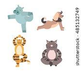 Fun Cartoon Animal Of Yoga Pos...