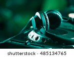 headphones on cd music disc... | Shutterstock . vector #485134765