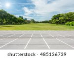 empty parking lot against green ... | Shutterstock . vector #485136739
