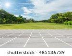 empty parking lot against green ... | Shutterstock . vector #485136739