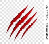 claw scratch mark. vector bear... | Shutterstock .eps vector #485136754