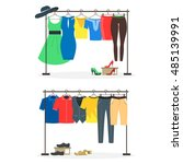 clothes racks with wear on... | Shutterstock .eps vector #485139991