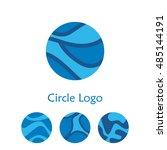 blue circle logo set. vector... | Shutterstock .eps vector #485144191