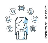 human resources flat line icons ...   Shutterstock .eps vector #485146891