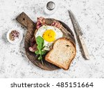 Toast With Fried Egg  Bacon An...