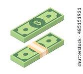 dollars paper money. stack... | Shutterstock .eps vector #485151931