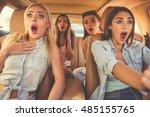 beautiful stylish girls are... | Shutterstock . vector #485155765