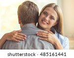 portrait of happy young couple... | Shutterstock . vector #485161441