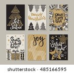 collection of six christmas... | Shutterstock .eps vector #485166595