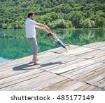 dad and son playing on the... | Shutterstock . vector #485177149