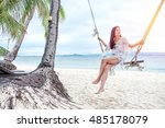 beautiful woman sitting on a... | Shutterstock . vector #485178079