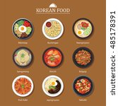 set of korean food flat design. ... | Shutterstock .eps vector #485178391
