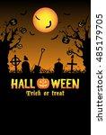 silhouette halloween graveyard... | Shutterstock .eps vector #485179705