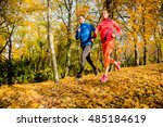 young couple jogging together... | Shutterstock . vector #485184619