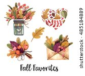 watercolor set of autumn items. ... | Shutterstock . vector #485184889