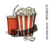 popcorn  cup for beverages with ... | Shutterstock .eps vector #485186275