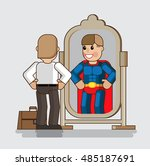 businessman looks at himself in ... | Shutterstock .eps vector #485187691